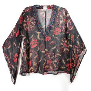 Chico's Boho Bell Sleeves Sheer Embroidered Top L